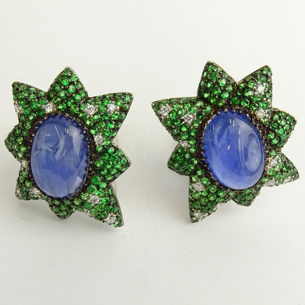 18.20 Carat  Unheated Burma Sapphire, .45 Carat Dia, Tsavorite Garnet and 18K White Gold Earrings.