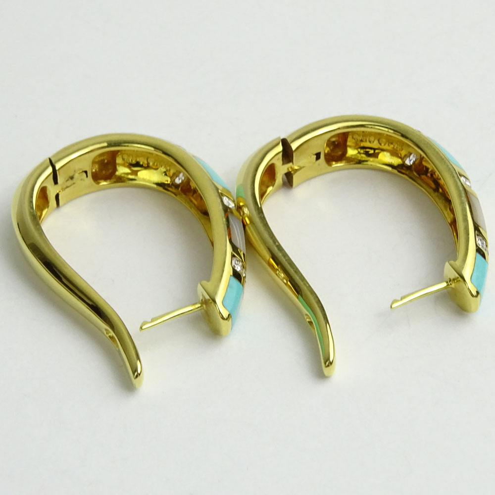 Pair of 14 Karat Yellow Gold, Diamond, Mother of Pearl and Turquoise Hoop Earrings.