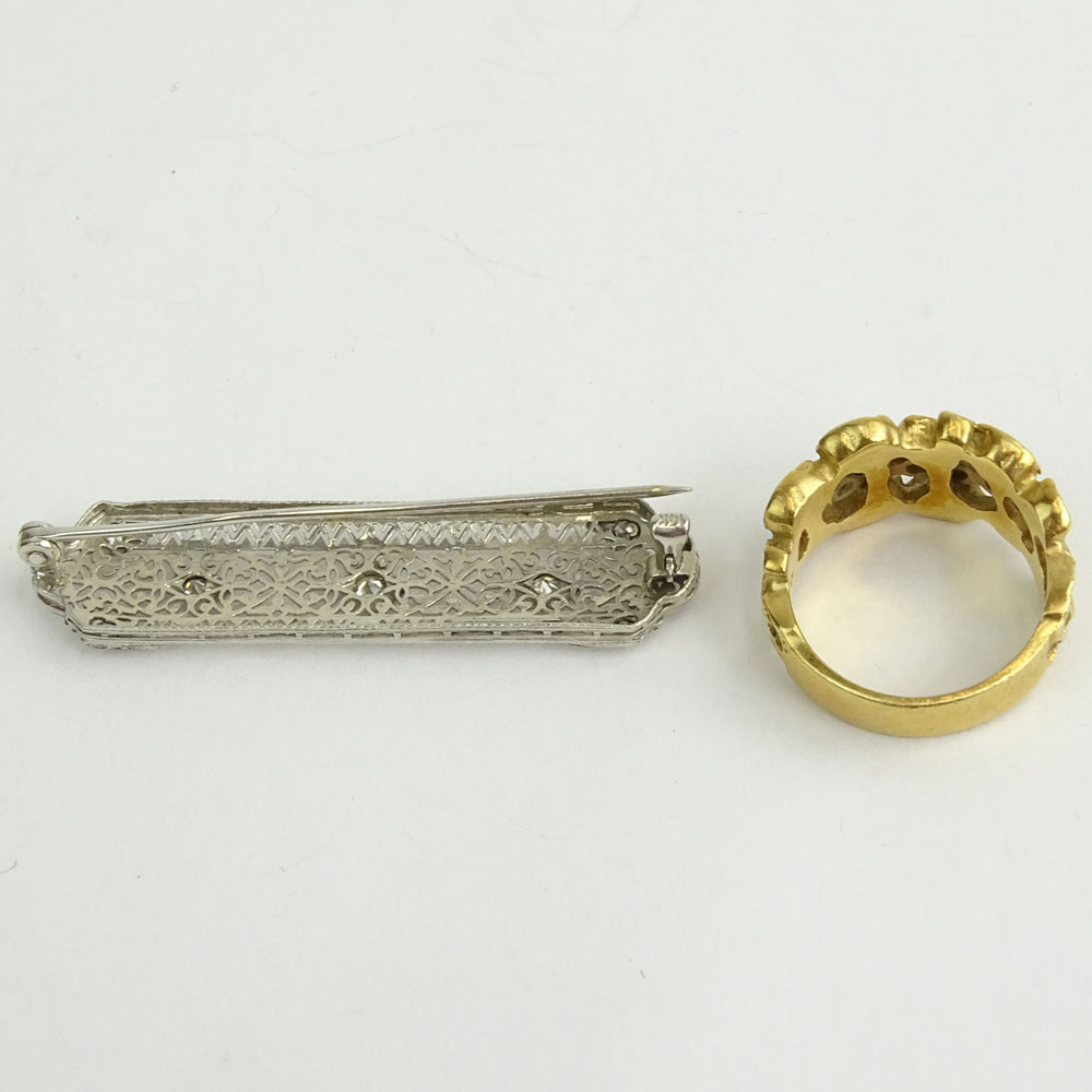 Antique Filigree 14K White Gold and Diamond Bar Pin together with 14 K Yellow Gold and Diamond Ring.