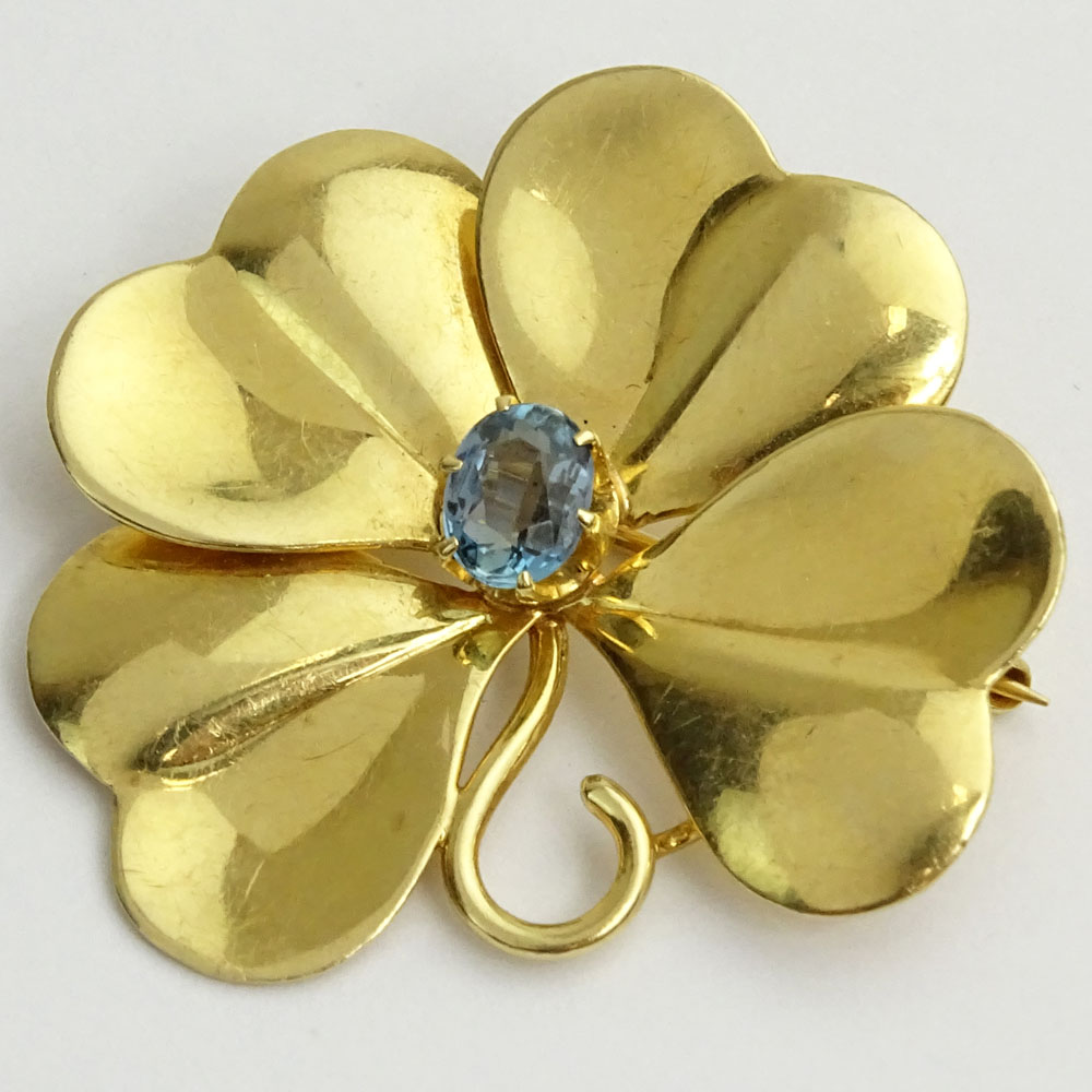 Vintage 14 Karat Yellow Gold Leaf Brooch with Small Blue Topaz.
