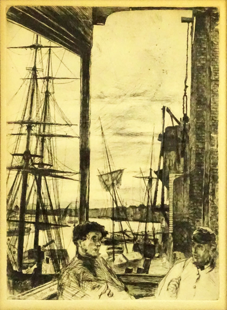 "James Abbott McNeill Whistler, American (1834-1903) Etching ""Rotherhithe, from Sixteen Etchings"""