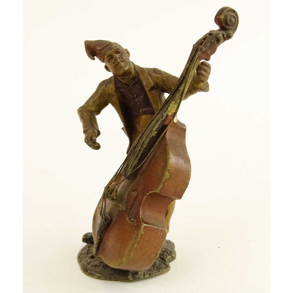 Bergmann Cold Painted Vienna Bronze Man Playing Cello.