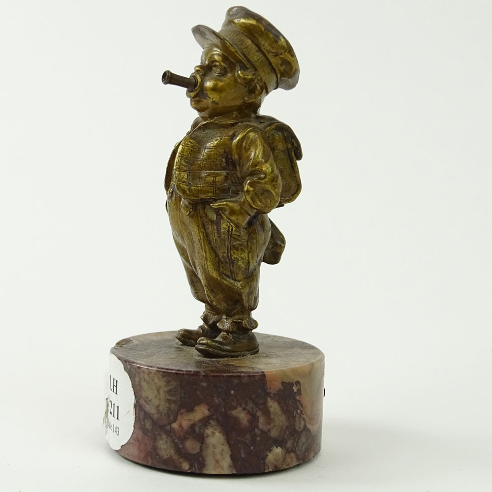 "Bergmann Nam Greb Vienna Bronze on Rouge Marble Base. ""Soldier Boy"" Gold Patina."