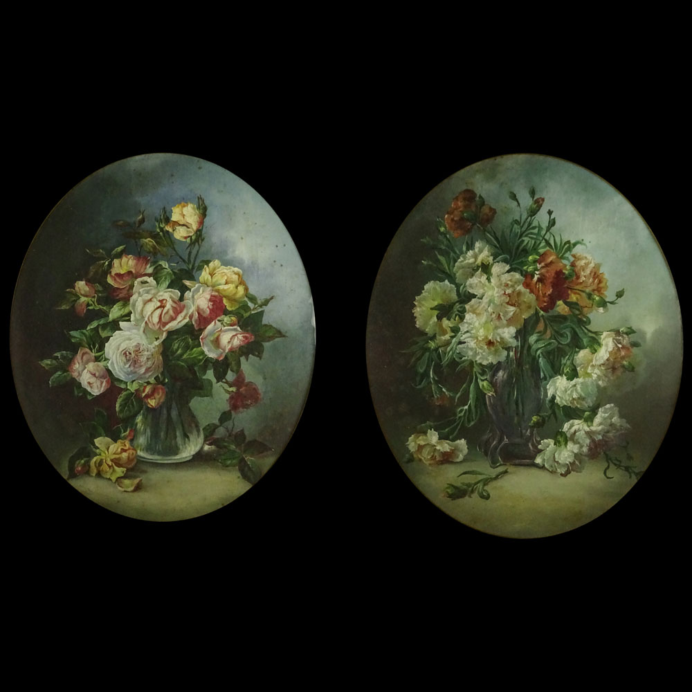 "Pair of 19th Century French School Oil on Canvas ""Still Life of Flowers"""
