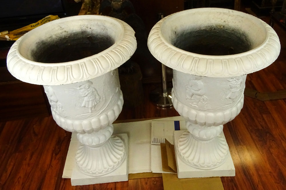 Pair of Monumental Early to Mid 20th Century Cast Iron Garden Urns.