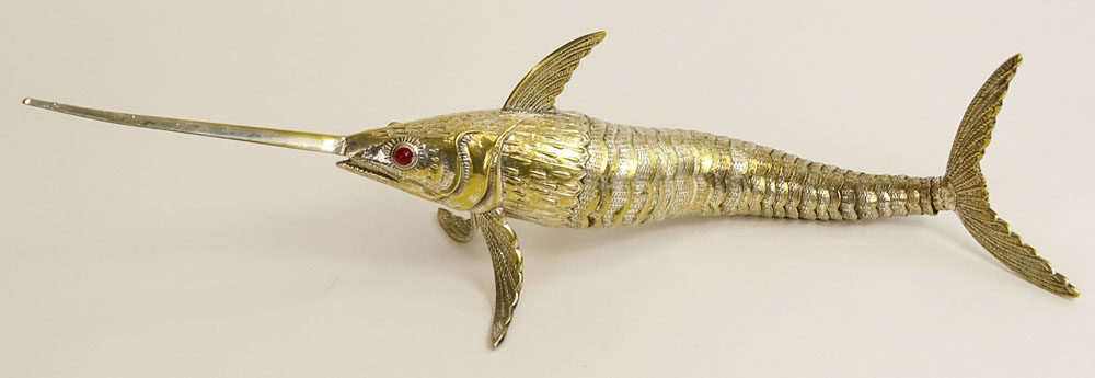 Vintage Silver Plated Articulated Swordfish Figurine.