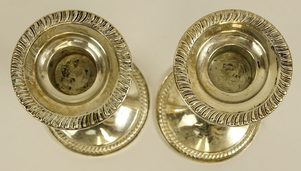 Pair Sterling Silver Weighted Candlesticks.