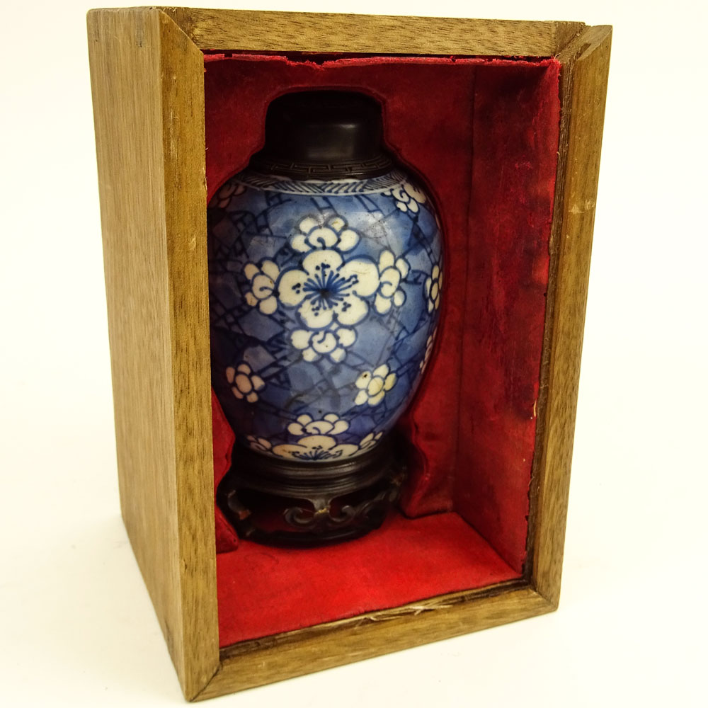 Antique Chinese Blue & White Porcelain Ginger Jar with Hardwood Lid and Stand in Custom Fitted Box.