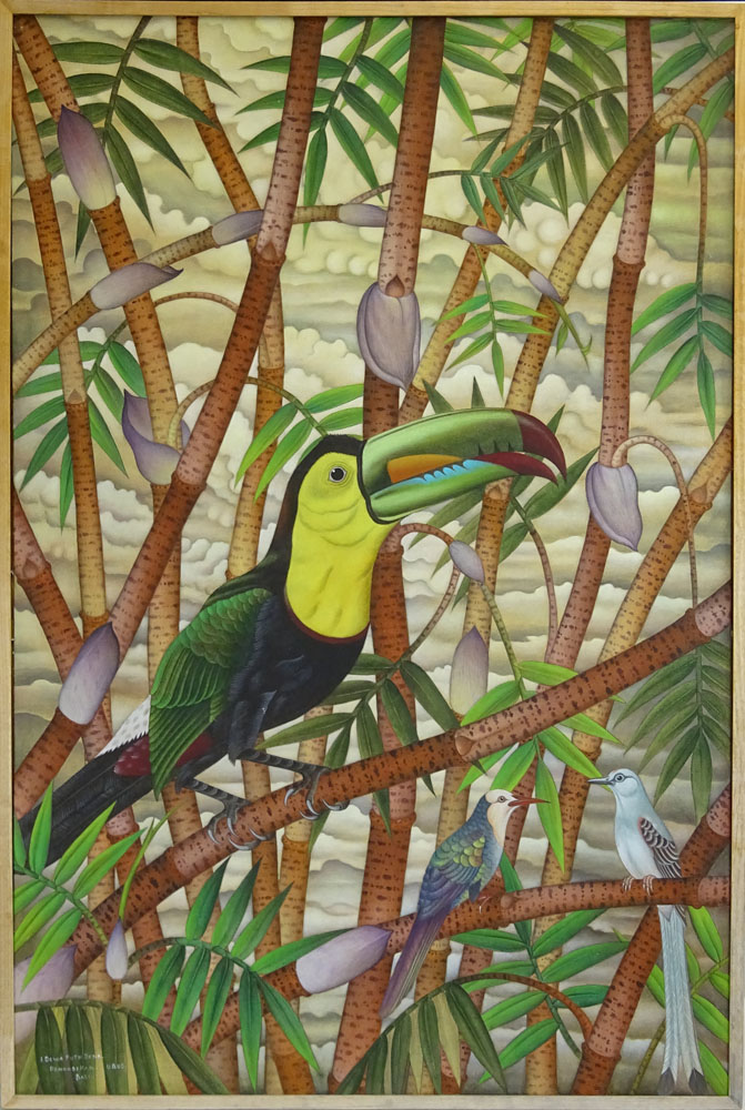 "I Dewa Putu Sena, Indonesian (1943 - ) Contemporary Acrylic on Canvas. ""Toucan""."