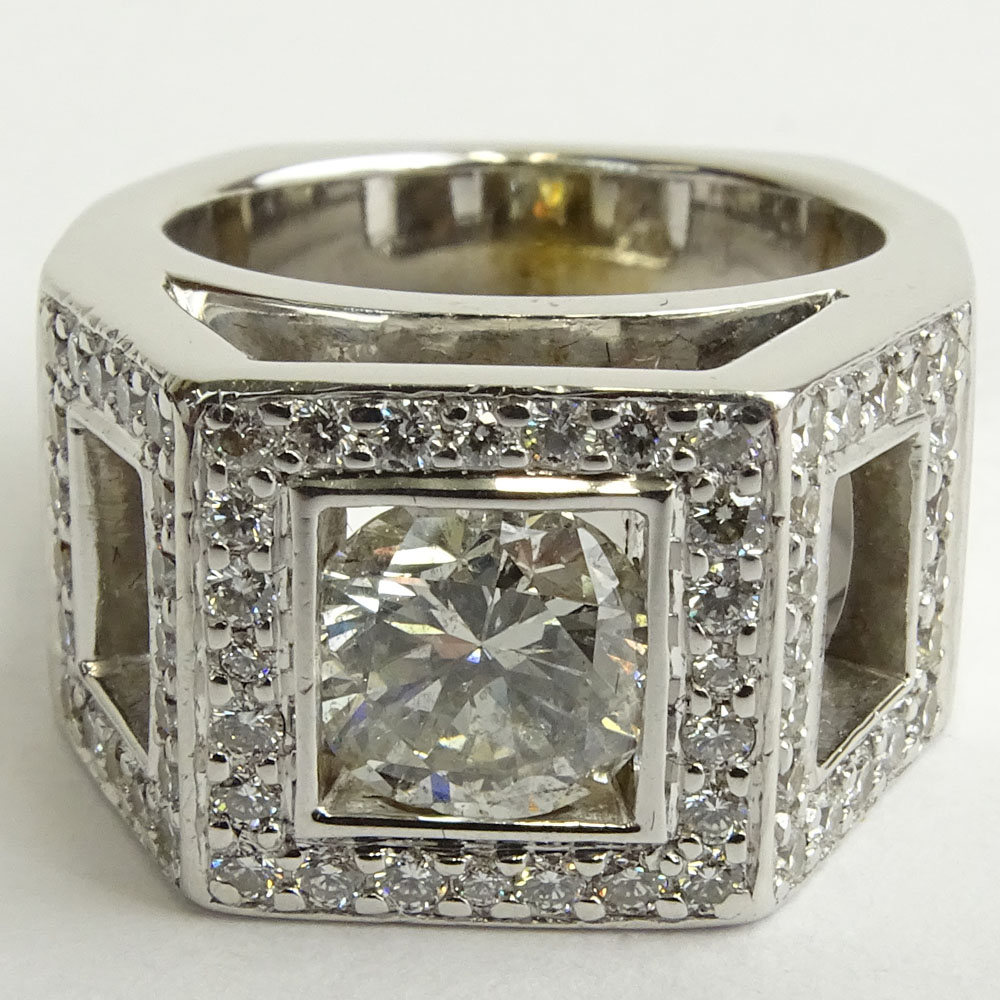 Approx. 1.45 Carat Round Brilliant Cut Diamond and 14 Karat White Gold Engagement Ring.