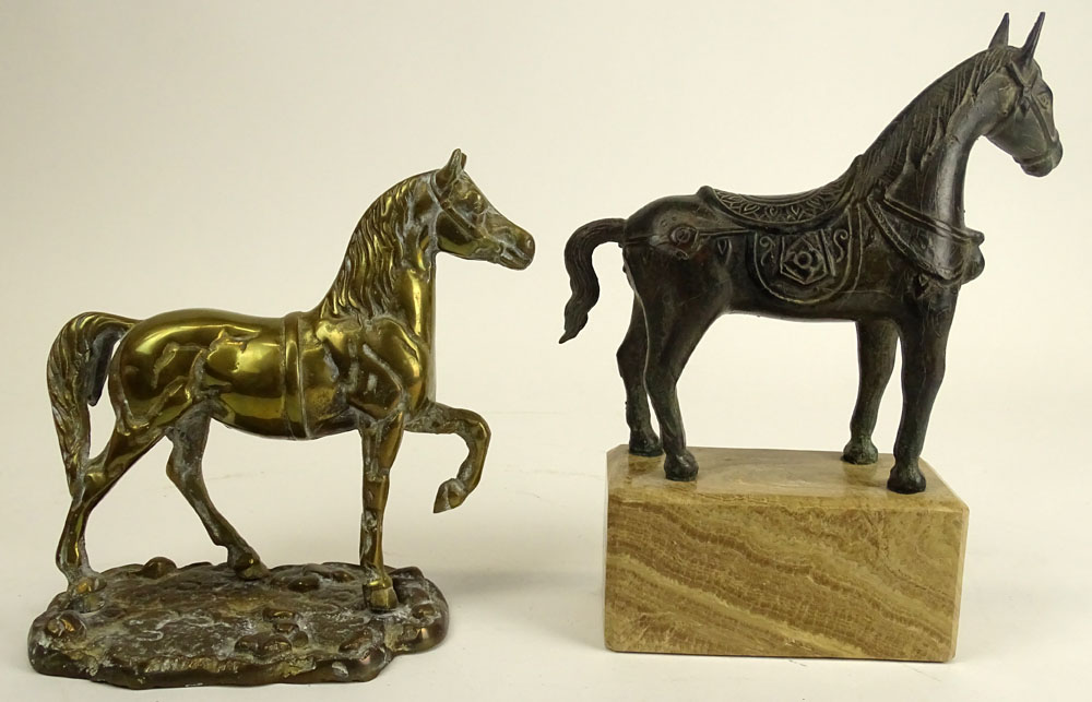Lot of Two (2) Decorative Horse Figurines. A Tang Style Bronze Horse on Marble Base.