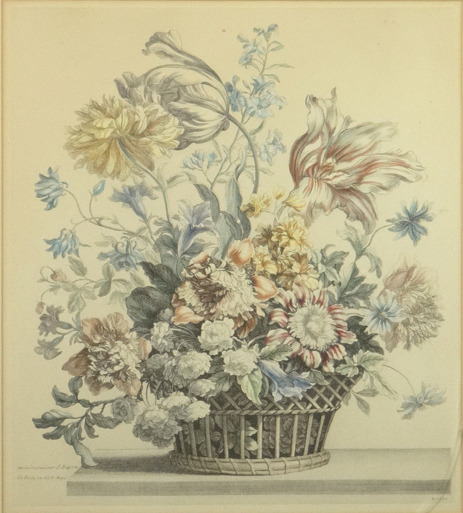 "Two (2) 20th Century Hand Colored Engravings ""Still Life with Flowers in Basket""."