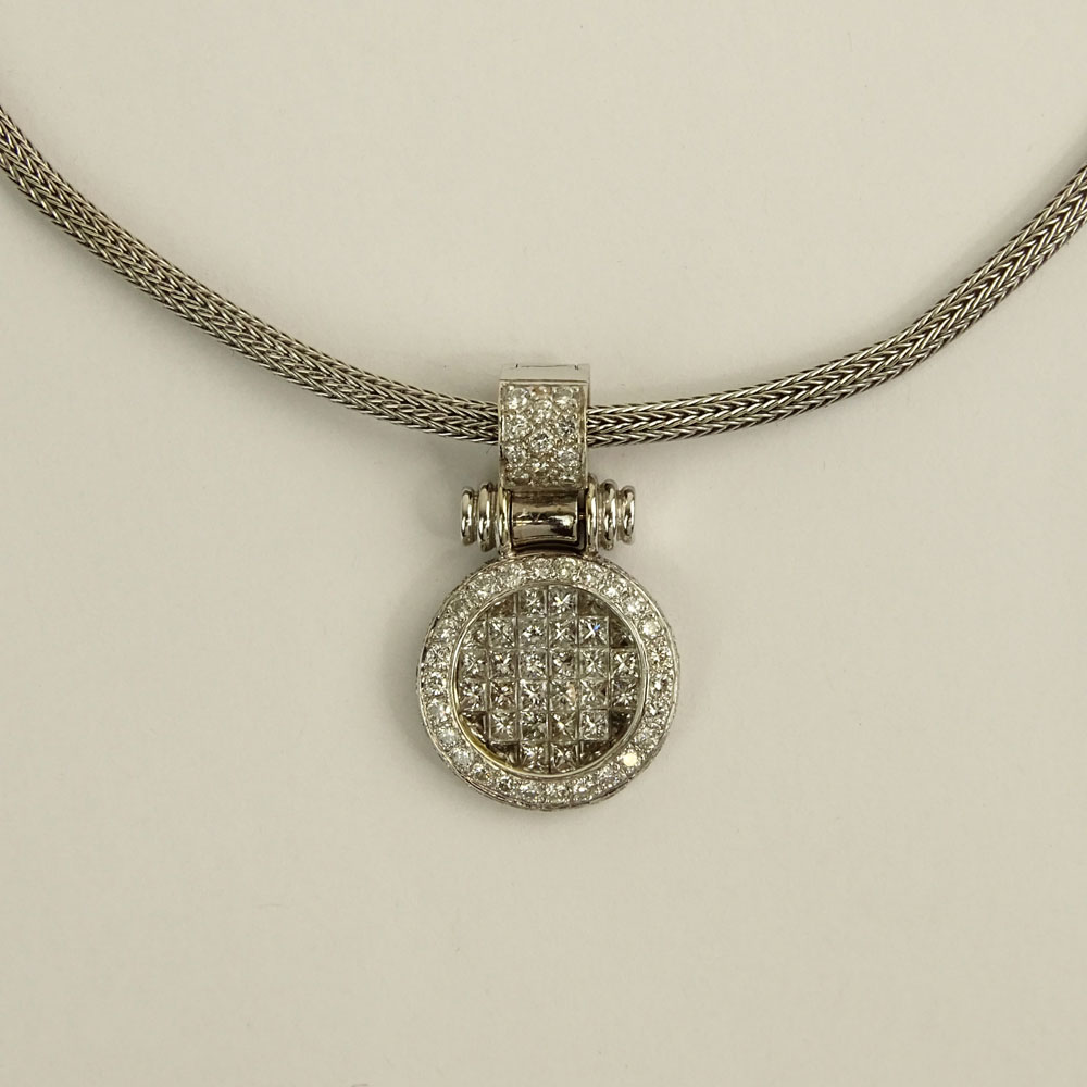 Lady's Diamond and 18 Karat White Gold Pendant with White Metal Chain.