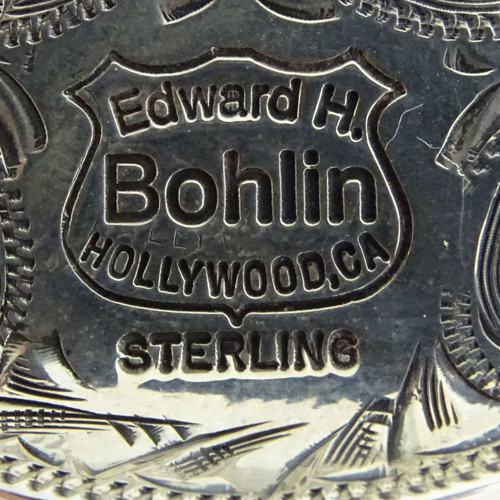 Vintage Edward Bohlin Sterling Silver Money Clip in Horseshoe and Indian Motif.