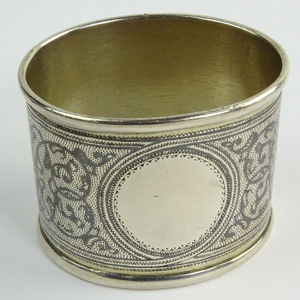 Antique Russian 84 Silver Niello Napkin Ring.