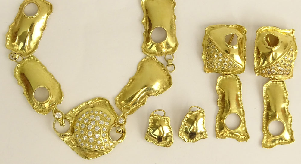 Baruch Hadaya, Israeli 18 Karat Yellow Gold and Diamond Necklace and Two Pair Earclip Suite.
