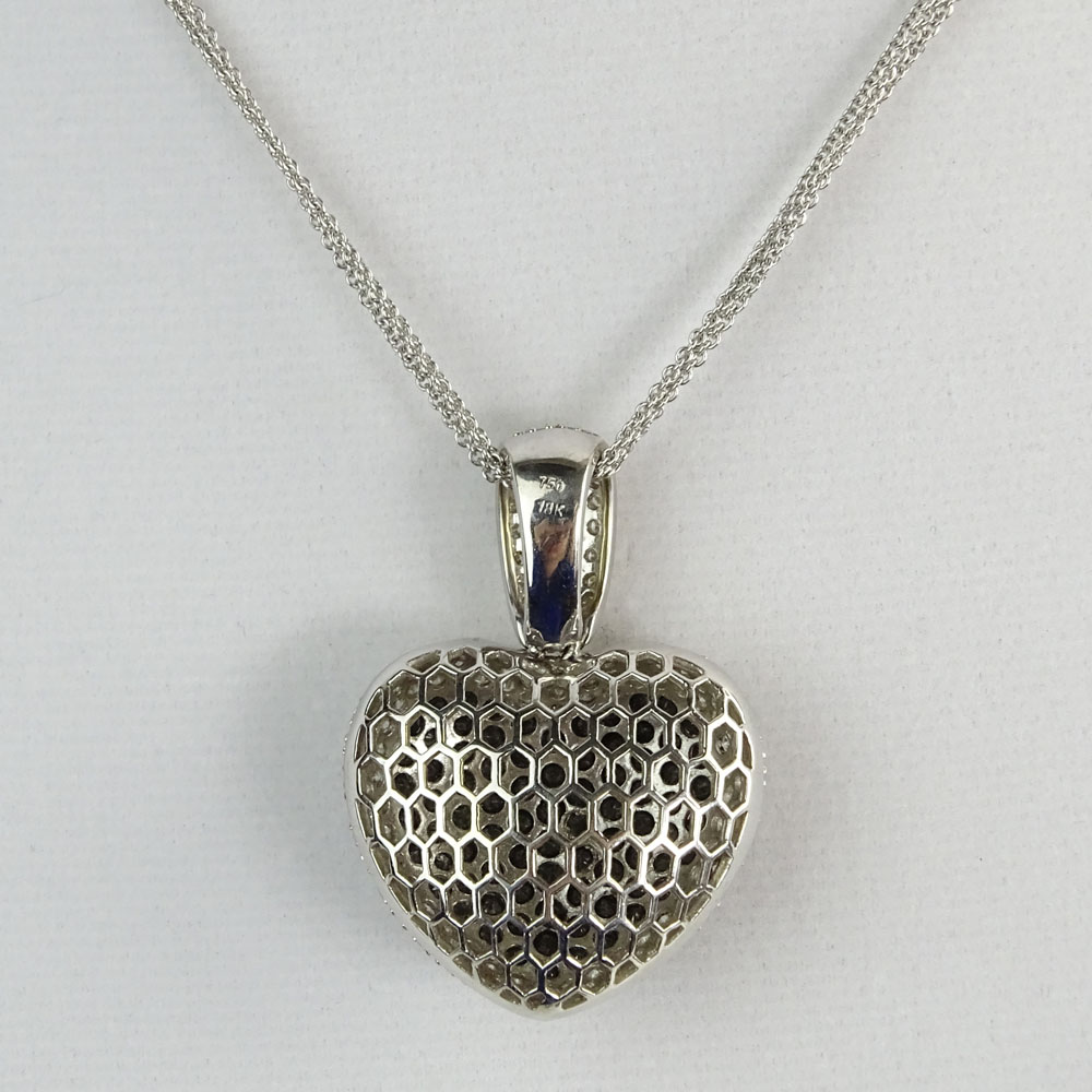 4.75 Carat Round Cut Black & White Diamond and 18 Karat White Gold Heart Pendant Necklace.