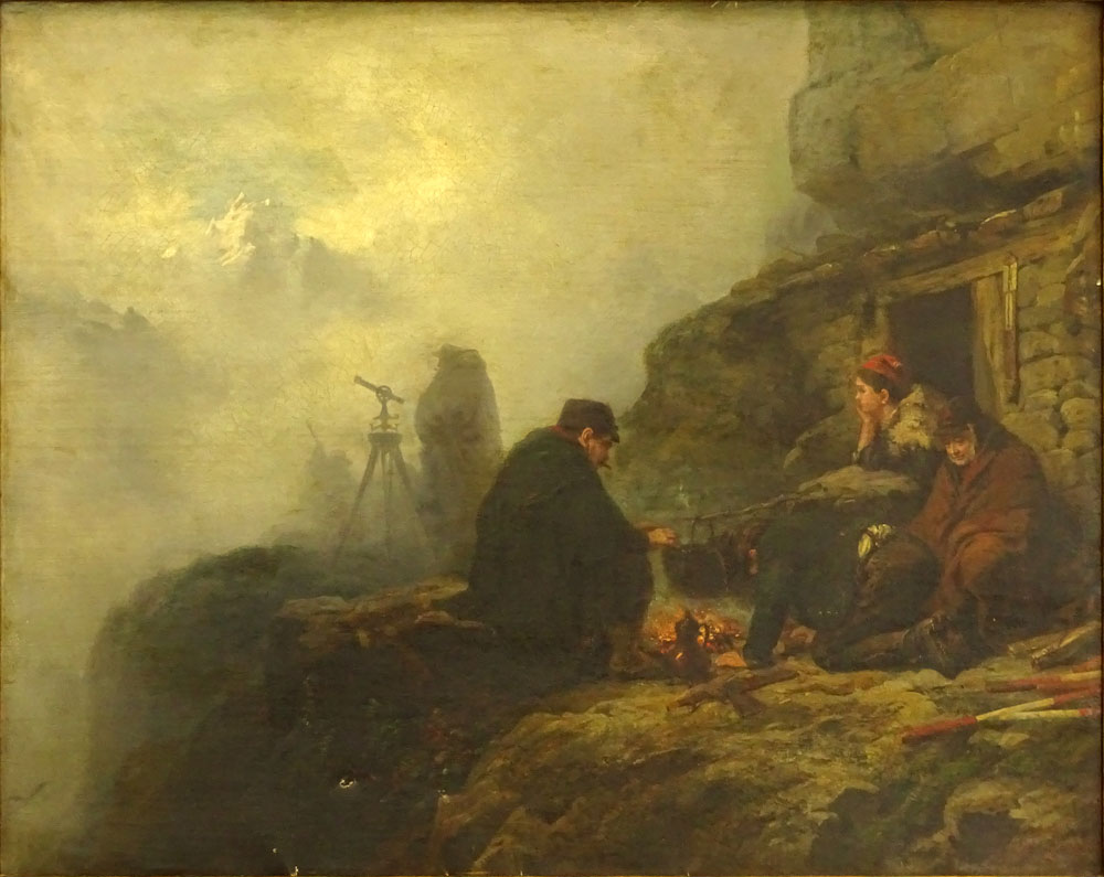 "Raphael Ritz, Swiss (1829 - 1894) Oil on canvas ""Surveying The Mountain""."