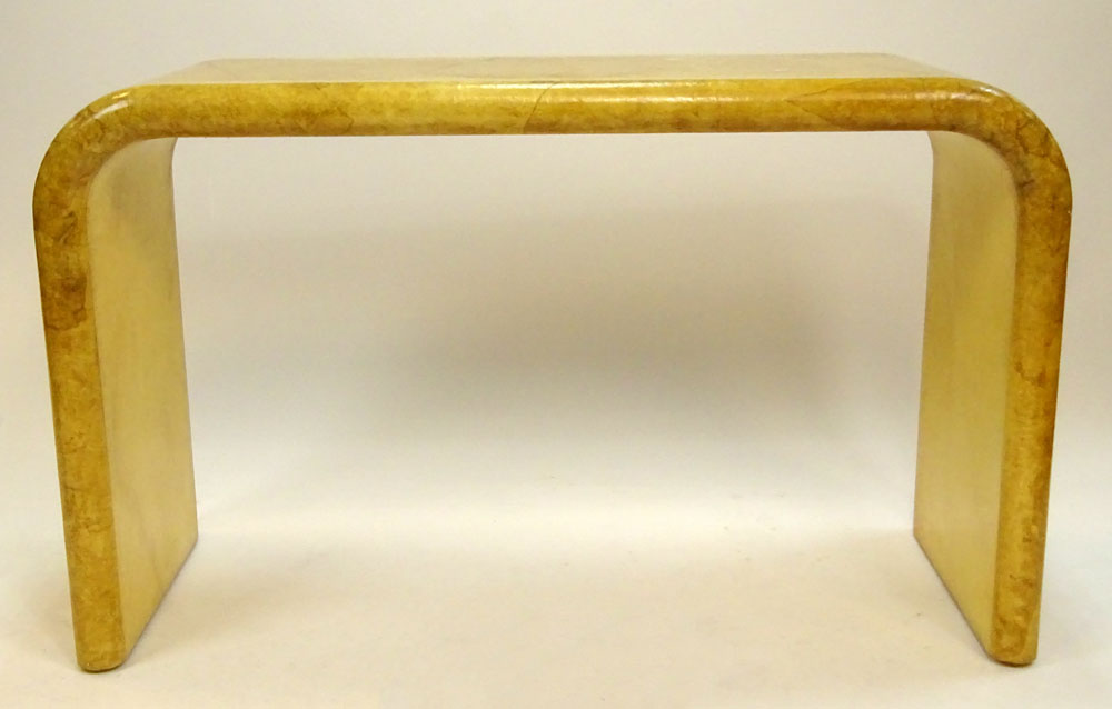 Mid Century Karl Springer Style Faux Goatskin Waterfall Console Table.