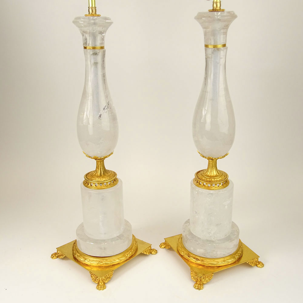 Large Pair of Rock Crystal & Dore Bronze Lamps. Unsigned.