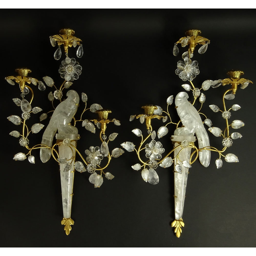 Pair of Bagues Style Rock Crystal and Dore Bronze Three Light Sconces.