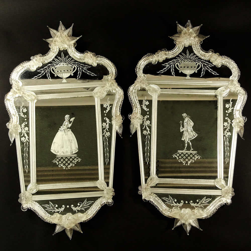 Pair of Early to Mid 20th Century Venetian Mirrors.