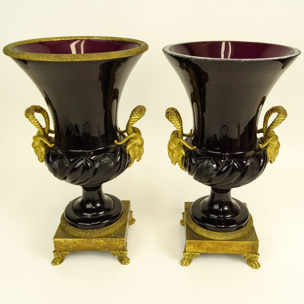 Pair of Neoclassical Russian Imperial Glass Gilt Bronze Mounted Amethyst Glass Vases.