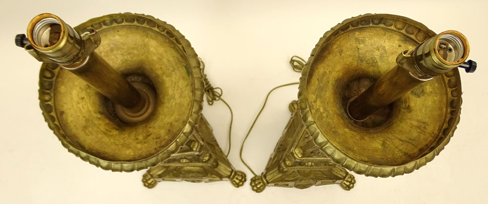 Large Pair of 19th Century Italian Brass Church Candlesticks now electrified.