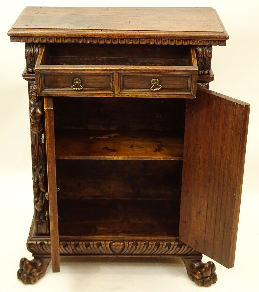 19th Century Walnut One Drawer, Two Door Console Cabinet.