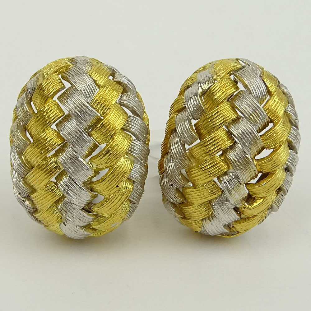 Pair of Vintage Italian 18 Karat Yellow and White Gold Earrings.