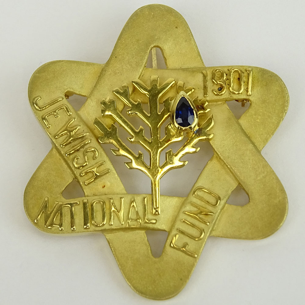 Vintage 14 Karat Yellow Gold Jewish National Fund Star Pendant/Brooch with Sapphire Accent.