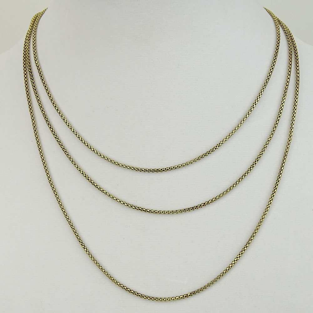 Vintage 10 or 12 Karat Yellow Gold Long Necklace.