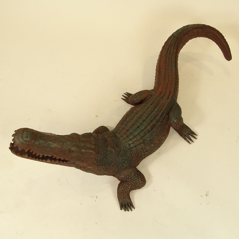 "Contemporary Cast Cold Painted Bronze Sculpture ""Alligator""."