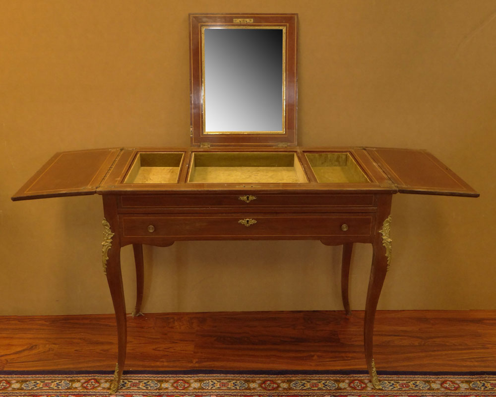 Early 20th Century Inlaid Mahogany Lady's Vanity with Cast Metal Mounts.