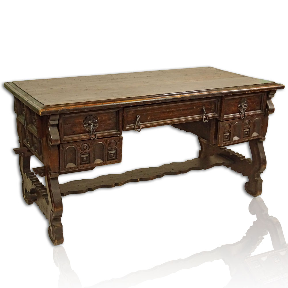 17th Century Spanish Style Carved Hardwood Desk.