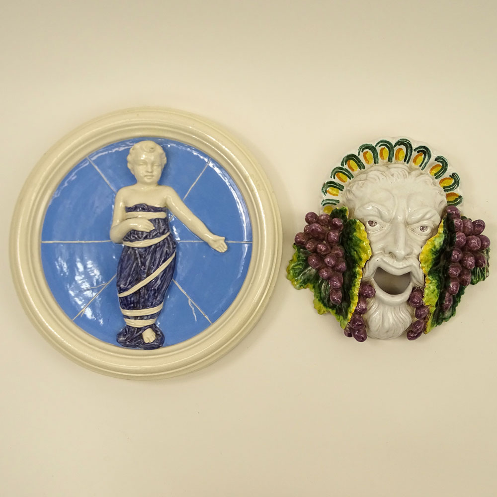 Two Vintage Majolica Pottery Wall Mask and Plaque.
