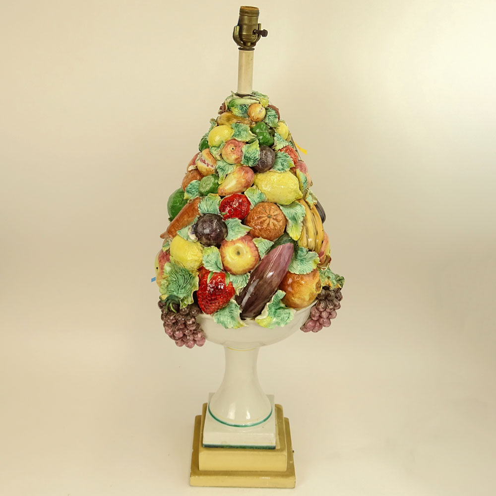 Large Vintage Italian Majolica Pottery Fruit Topiary Lamp.