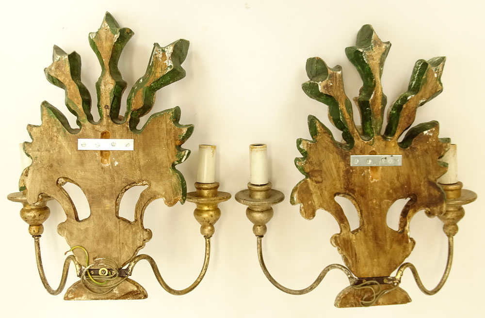 Pair of Italian Mid 20th Century Painted Carved Wood Two Light Wall Sconces.