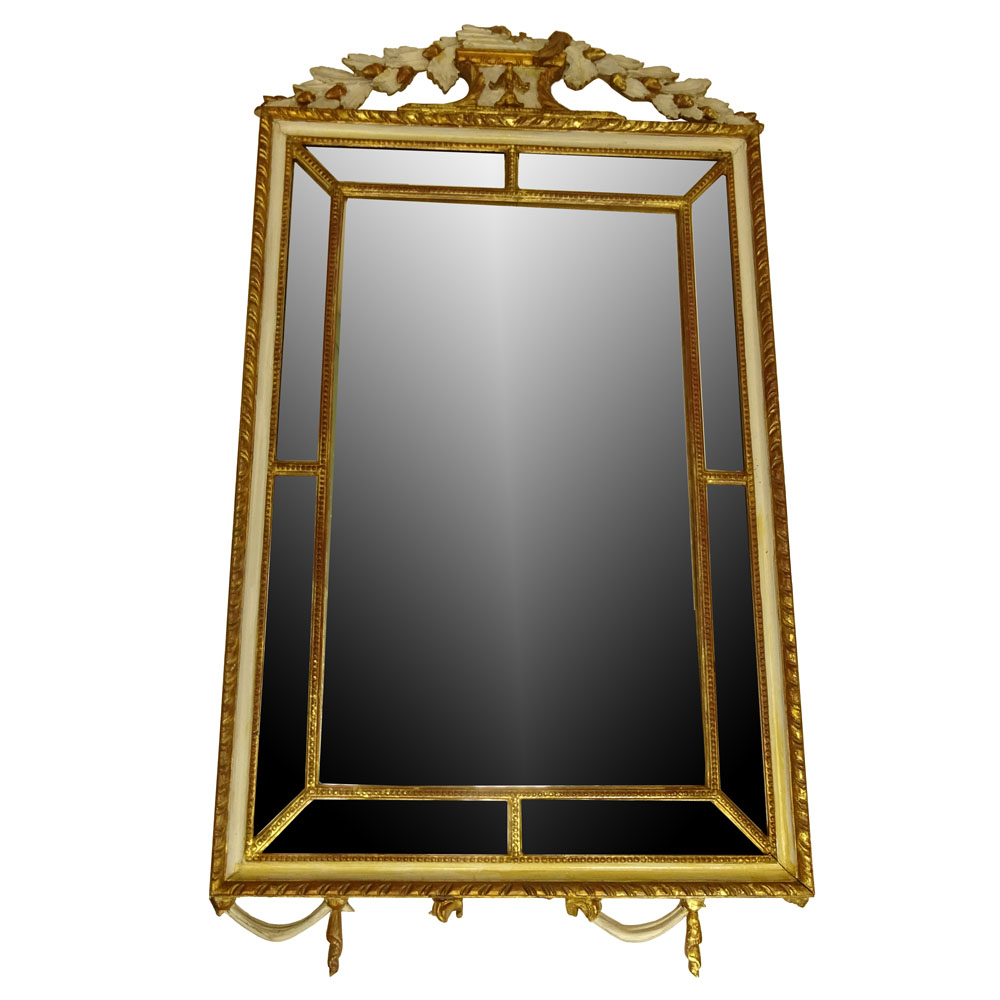 20th Century Italian Carved Painted and Parcel Gilt Mirror.
