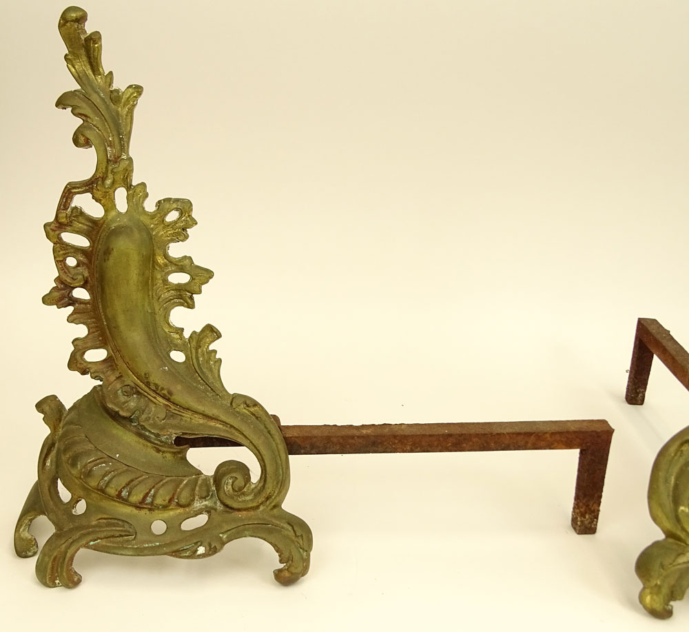 Pair Early to Mid 20th Century Rococo Style Bronze Chenets.