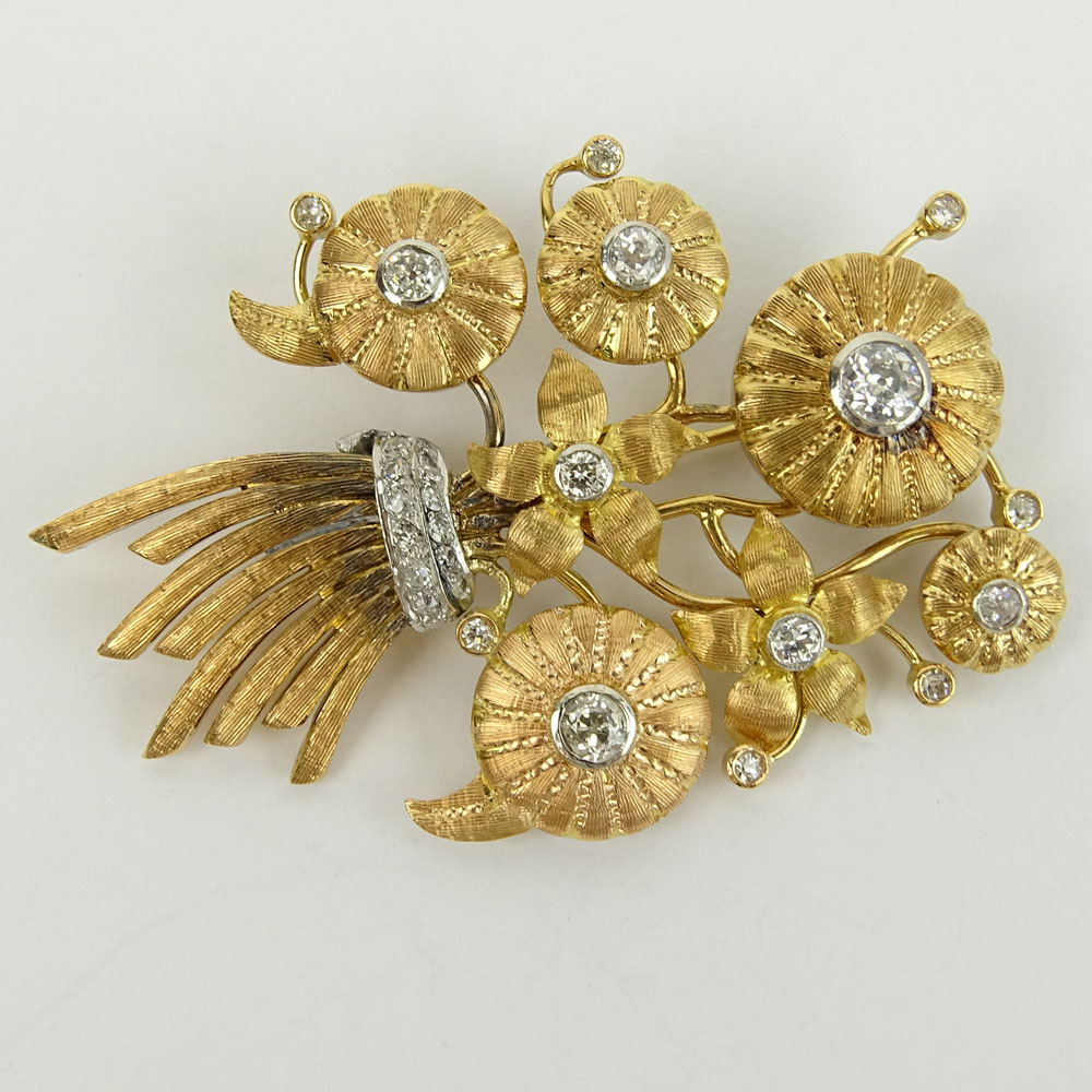 Antique 14 Karat Yellow Gold Stickpin Brooch Set with Approx. 1.50 Carat Old European and Brilliant Cut Diamonds.