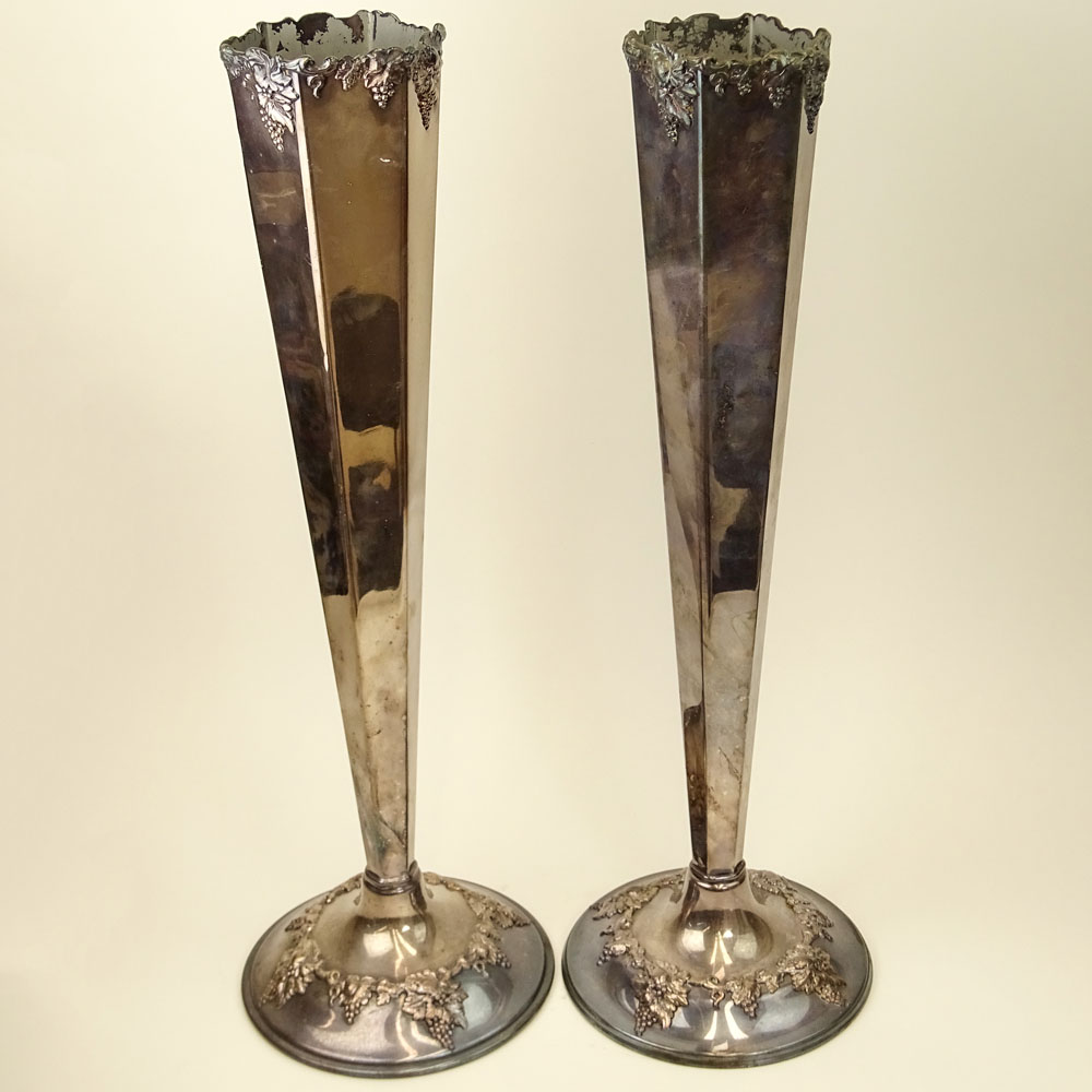 Pair of Victorian Sheffield Silver Plate Tall Vases. Grape Vine Motif.
