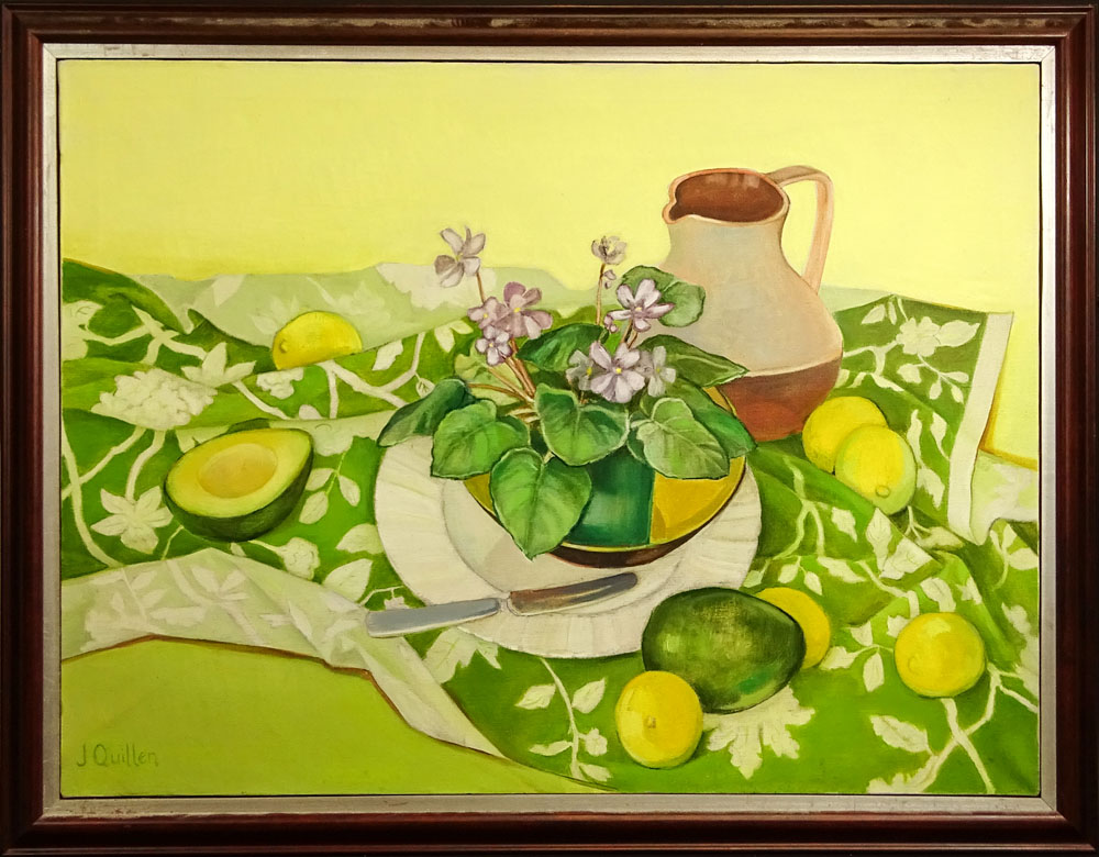 "Contemporary Oil on Canvas ""Still Life With Avocados and Flowers""."