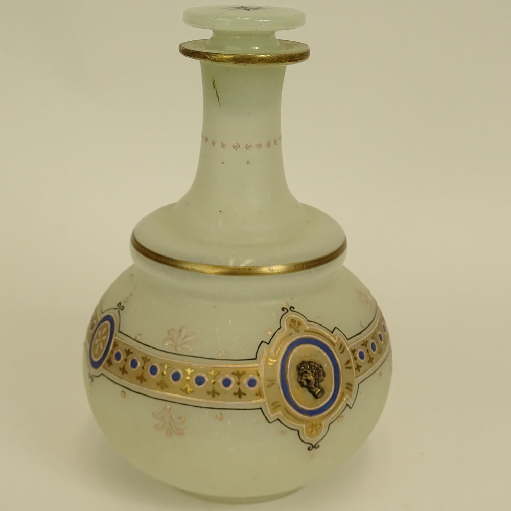 Antique Gilt and Enamel Decorated Opaline Glass Vanity Decanter.