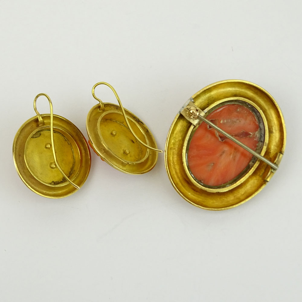 19th Century Carved Red Coral and High Karat Yellow Gold Brooch and Earring Suite.