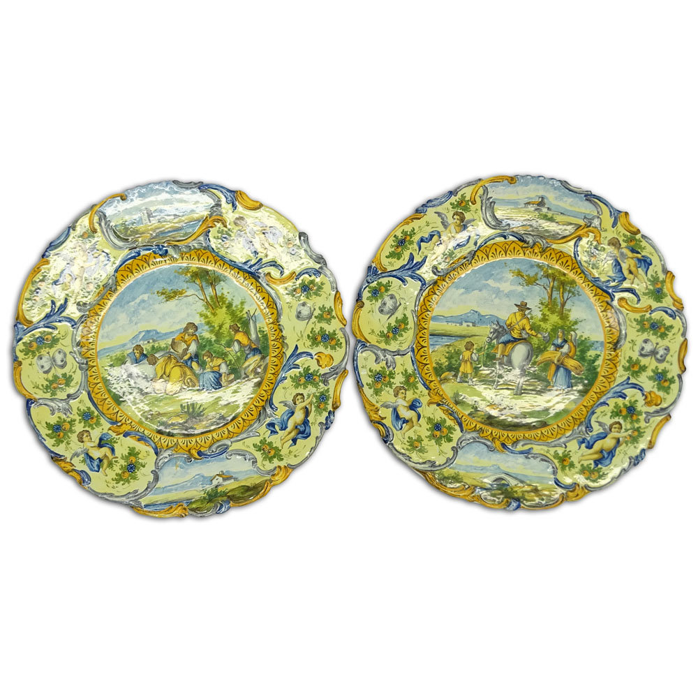Pair of 20th Century Italian Majolica Chargers.