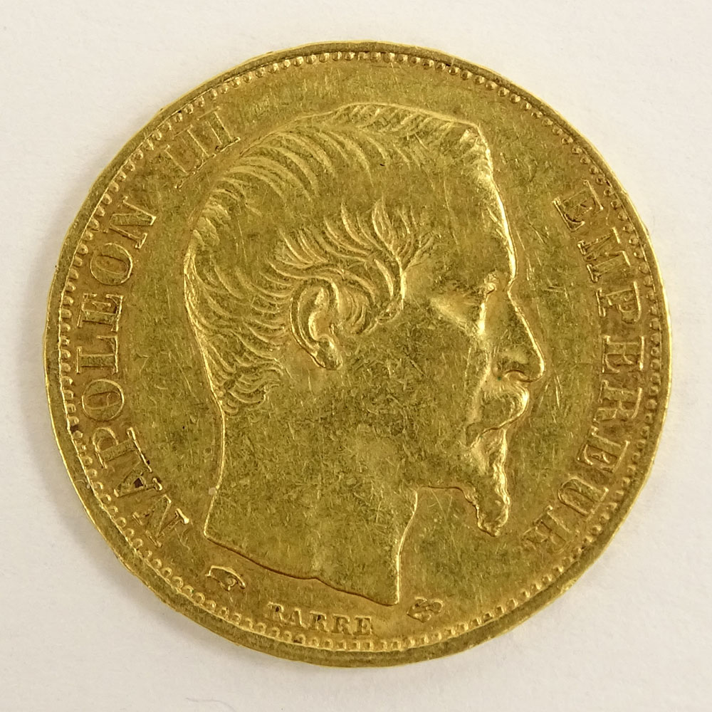 Swiss 1857 20 Franc Gold Coin.