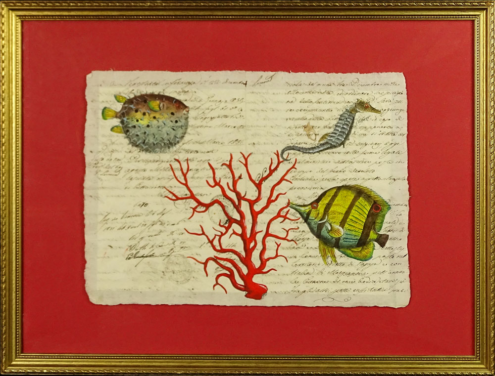 "18th Century Manuscript Hand Decorated with Later Watercolor ""Sea Life""."