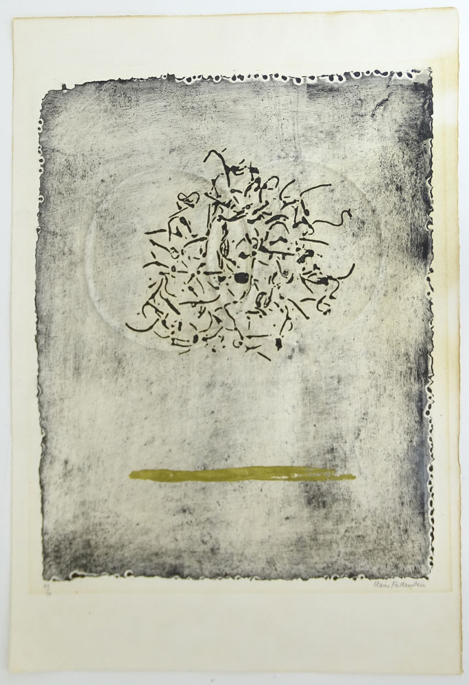 "Claire Falkenstein, American (1908-1998) Hand-colored collograph on Fabriano paper ""Two Rings""."