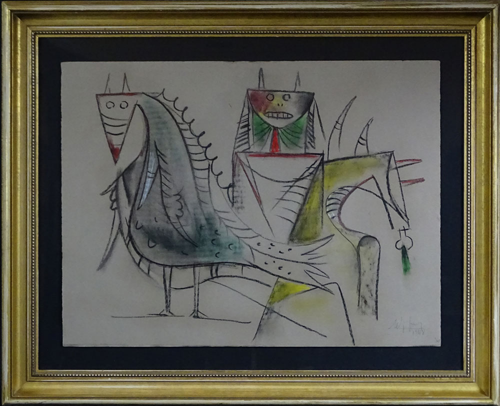 "Wifredo Lam, Cuban (1902-1982) Chalk Drawing on Strathmore Watermarked Paper ""Untitled - Composicion con ane y Eleggua""."